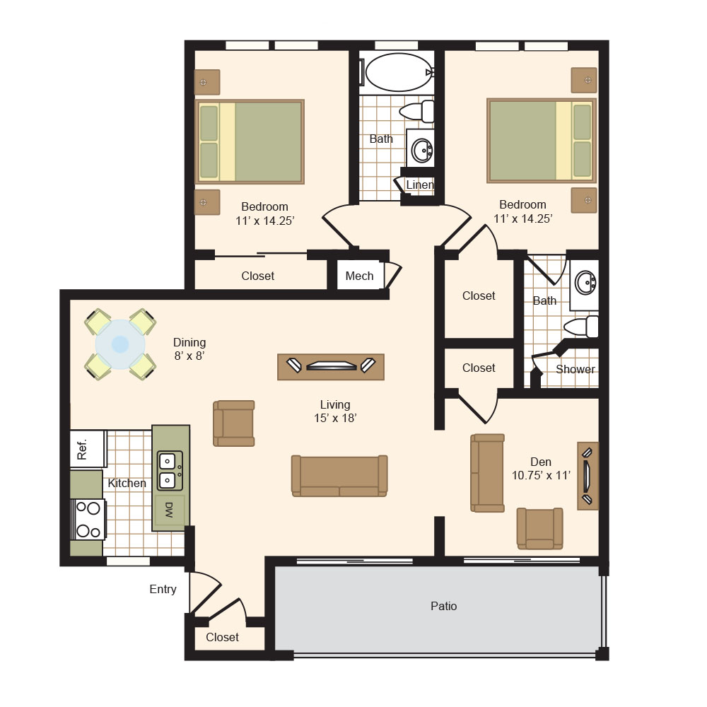 Floor Plan G | Colony Oaks Apartment in Bellaire Houston